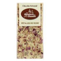 chocolat blanc et pétales de roses - les saveurs du clavon 110g